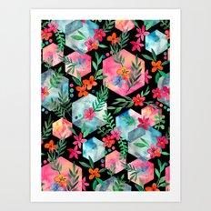 Whimsical Hexagon Garden on black Art Print