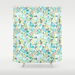 Watercolor/Ink Aqua Blue Floral Painting Shower Curtain