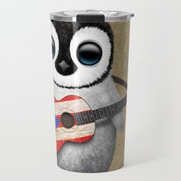 Baby Penguin Playing Puerto Rican Flag Guitar Travel Mug