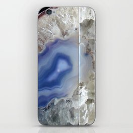 Blue geode agate druse crystal quartz gem gemstone mineral stone science agate photograph hipster iPhone Skin