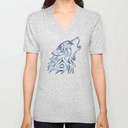 Tribal Wolf Howl Brushed Steel Unisex V-Neck