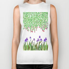 A Colorful Garden of Iris and Trumpets, Hanging Garden Biker Tank