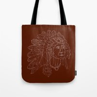 native american Tote Bags featuring native american by johanna strahl