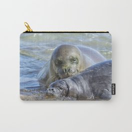 Mama Monk Seal and Pup at the Shoreline, No. 2 - RB00 and PK1 Carry-All Pouch