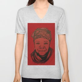 Maya Angelou - (red) Original Sketch to Digital Unisex V-Neck