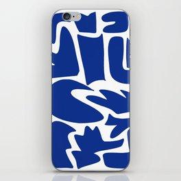 Blue shapes on white background iPhone Skin