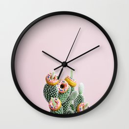 Donut Cactus In Bloom Wall Clock