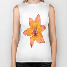 Coral Colored Lily Isolated on White Biker Tank