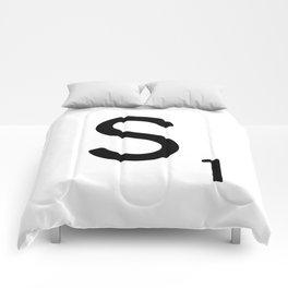 Letter S - Custom Scrabble Letter Tile Art - Scrabble S Initial Comforters