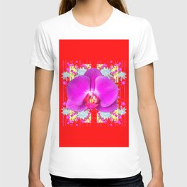 RED COLOR PURPLE BUTTERFLY ORCHID WHITE MUMS Flowers T-shirt