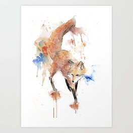 """Watercolor Painting of Picture """"Red Fox"""" Art Print"""