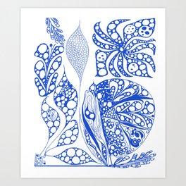 My blue doodle Art Print