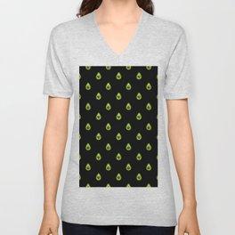 Avocado Hearts (black background) Unisex V-Neck