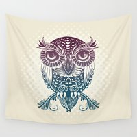 egyptian Wall Tapestries featuring Baby Egyptian Owl by Rachel Caldwell