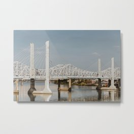 Louisville Bridges on the Ohio River Metal Print