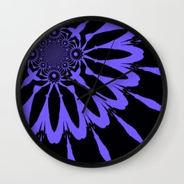 The Modern Flower Black and Periwinkle Purple Wall Clock