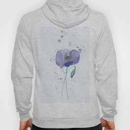 Blue Poppy flower illustration painting in watercolor Hoody