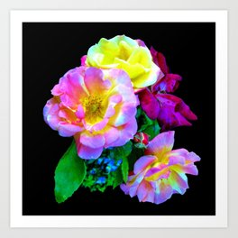 Rosa Yellow Roses on Black Art Print