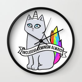 Inclusive Feminism Always - Rebel the Unicorn Cat Queer Feminist Intersectional Wall Clock
