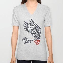 African grey parrot tribal tattoo Unisex V-Neck