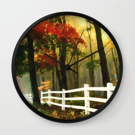 Fall scene with fence Wall Clock