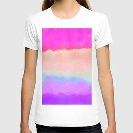 Modern girly pink magenta violet lavender watercolor stripes T-shirt