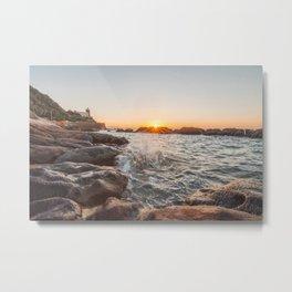 Admiring the sea to the last rays of sun... Metal Print