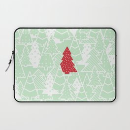 Elegant Green Christmas Trees Holiday Pattern Laptop Sleeve