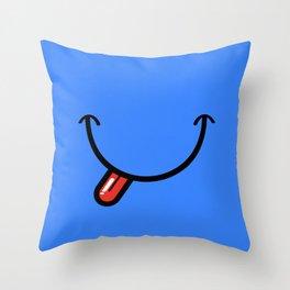 Blue Smiley Face  Throw Pillow