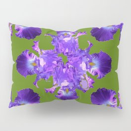 Purple Iris Abstract in Green Pillow Sham