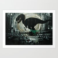 dinosaur Art Prints featuring dinosaur by mass confusion