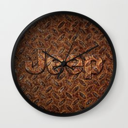 VINTAGE JEEP PATTERN LOGO INSPIRED Wall Clock
