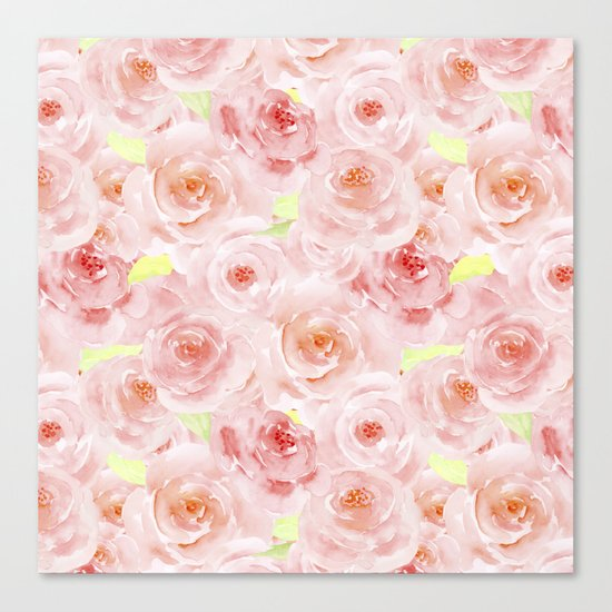 Rose pattern- Beautiful watercolor roses background Canvas Print