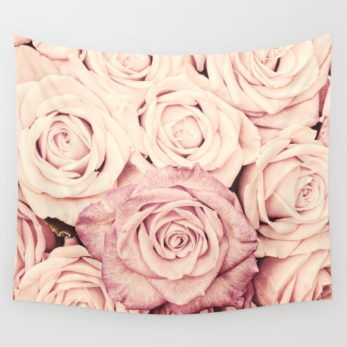 Some people grumble I Floral rose roses flowers pink Wall Tapestry