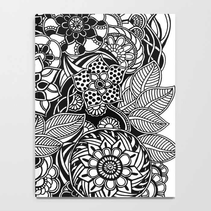 Taman sari 2 black and white doodle art notebook