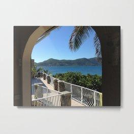 Caribbean Porch View, St. John, USVI Metal Print