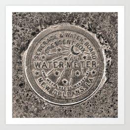 Sepia New Orleans Water Meter Louisiana Crescent City NOLA Water Board Metalwork Art Print