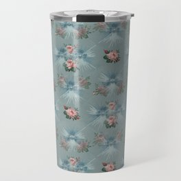 Vintage Blue with Antique Pink Roses Design Travel Mug