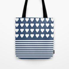 Heart Stripes Navy Tote Bag
