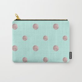 Happy Polka Dots Rose Gold on Mint #1 #decor #art #society6 Carry-All Pouch