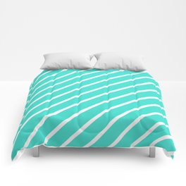 Diagonal Lines (White/Turquoise) Comforters