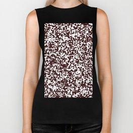 Small Spots - White and Dark Sienna Brown Biker Tank