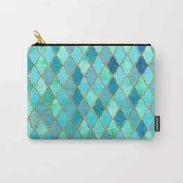 Aqua Teal Mint and Gold Oriental Moroccan Tile pattern Carry-All Pouch