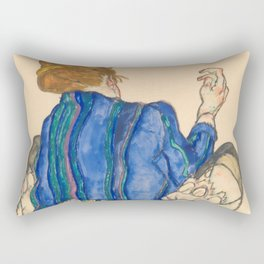 "Egon Schiele ""Seated Woman, Back View"" Rectangular Pillow"