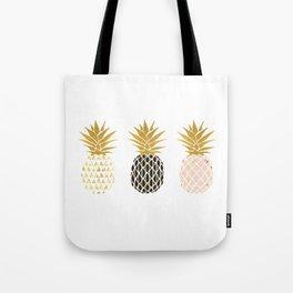 fun pineapple design gold Tote Bag