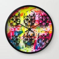 ultraviolence Wall Clocks featuring Ultraviolence 4i skull - mixed media on canvas by kakin