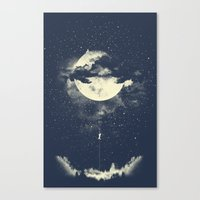 the moon Canvas Prints featuring MOON CLIMBING by los tomatos