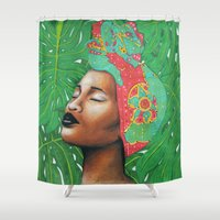 brasil Shower Curtains featuring AMAZÓNICA COMO BRASIL by Coco Dávez