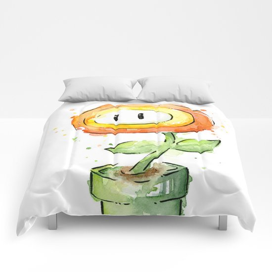 Fireflower Mario Watercolor Comforters