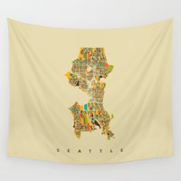 seattle Wall Tapestries featuring Seattle by Nicksman